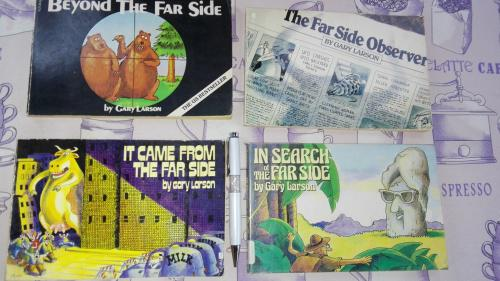 4 books;far side books beyond the far side; it came from the