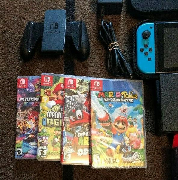 Nintendo switch 32gb bundle mario kart odyssey kingdom
