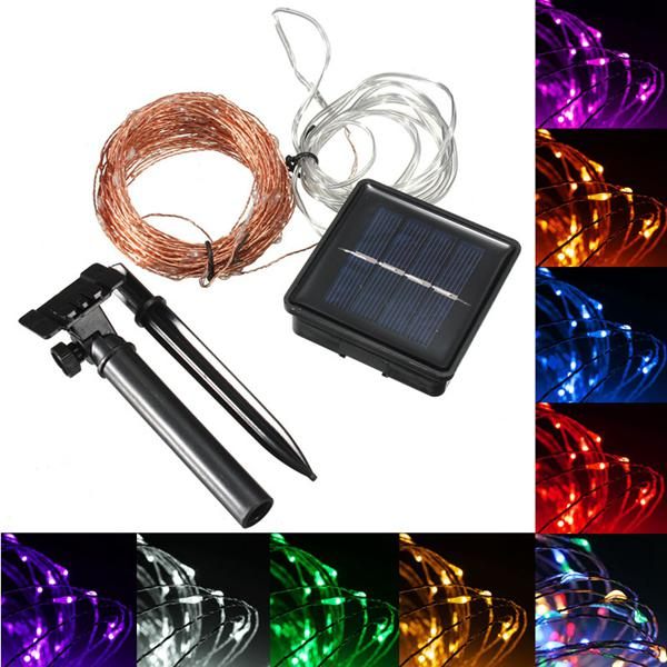 20m 200 led solar powered copper wire string fairy light