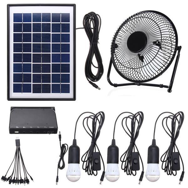3*3w solar power panel usb charging led light with fan kit