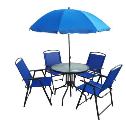 6 piece outdoor garden set with umbrella, glass table &