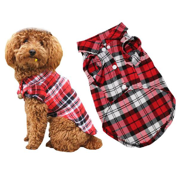 Pet dog clothes soft puppy spring summer plaid shirt outfits