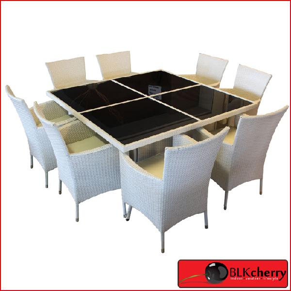 Poly rattan 8 seater white dining table set with glass top