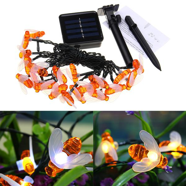 Solar powered 5m 20leds waterproof honey bee fairy string