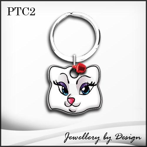 Stainless steel cat tag with mrs cat picture ontop plus free