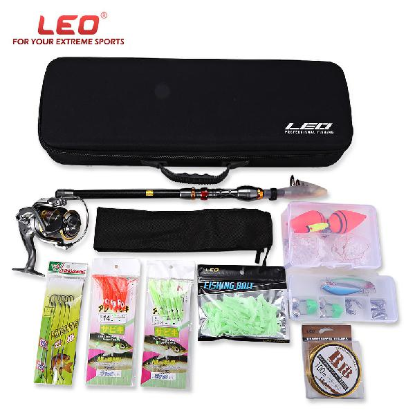 Leo outdoor fishing spinning rod reel kit set with fish line