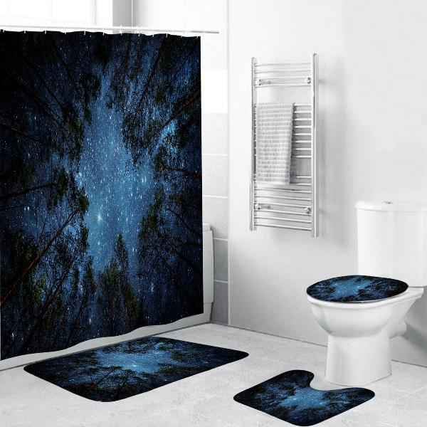 4 pcs/set shower curtain waterproof bathroom bath mat rug