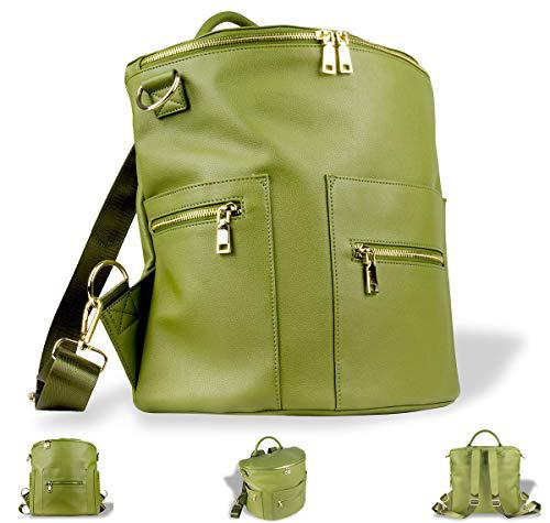 Faux leather diaper bag backpack, shoulder and convertible
