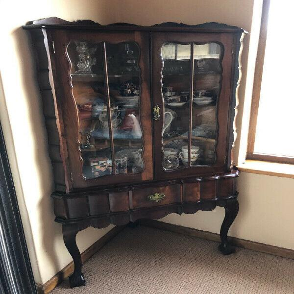Imbuia corner ball and claw display cabinet