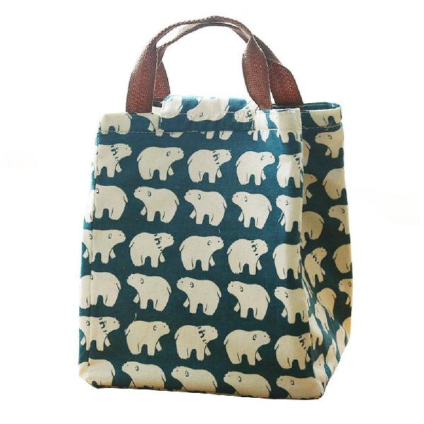 Mziart cute reusable cotton lunch bag insulated lunch tote