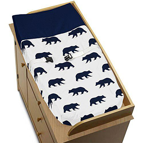 Navy blue and white changing pad cover for big bear