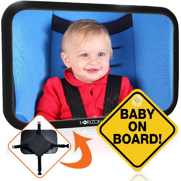 Premium infant carseat mirror & baby on board sign: view