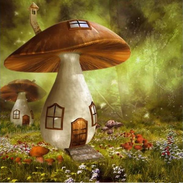 10x10ft sunshine forest mushroom house photography backdrop