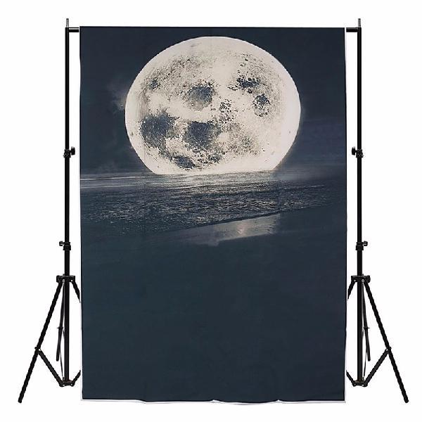3x5FT Vinyl Moon Star Sea Beach Night Photography Background