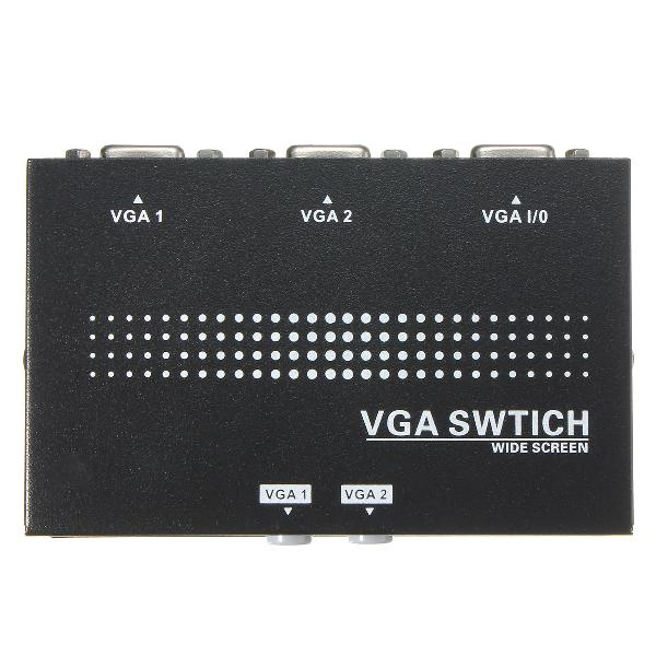 2 in 1 out svga vga 2 ports two monitor manual splitter