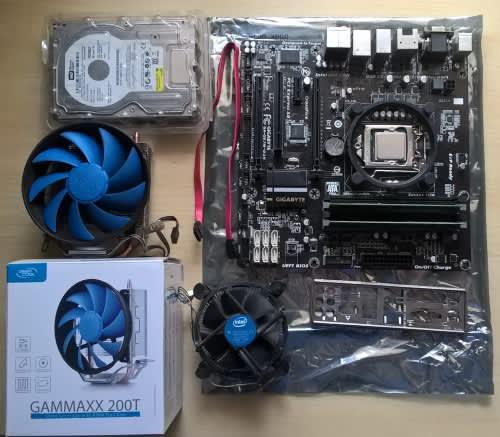 Intel i5 4590, 16gb ram, motherboard, deep cool 200t cooler