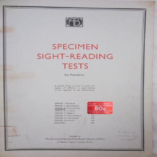1965 Specimen Sight-Reading Tests For Pianoforte - Assoc