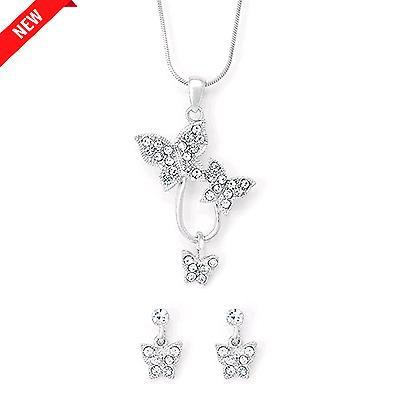 Petite butterfly earrings and necklace set