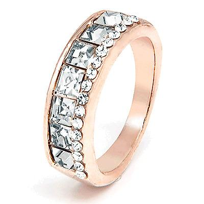 Rose-gold tone band with 2 rows inlay