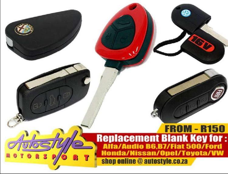 Replacement brand new blank keys, spare keys available for