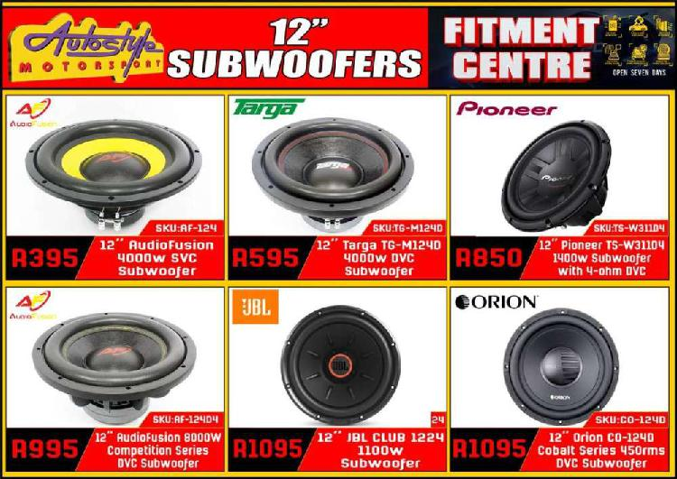 Subwoofers, widest range car audio and sound accesories ,