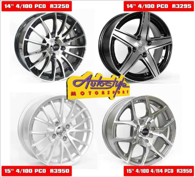 Brand new alloy rims 14 inch mags from r3250 set of 4 and 15
