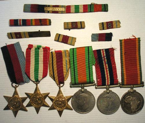 Ww2: group of six (x6) medals & ribbon bars 8th army t.