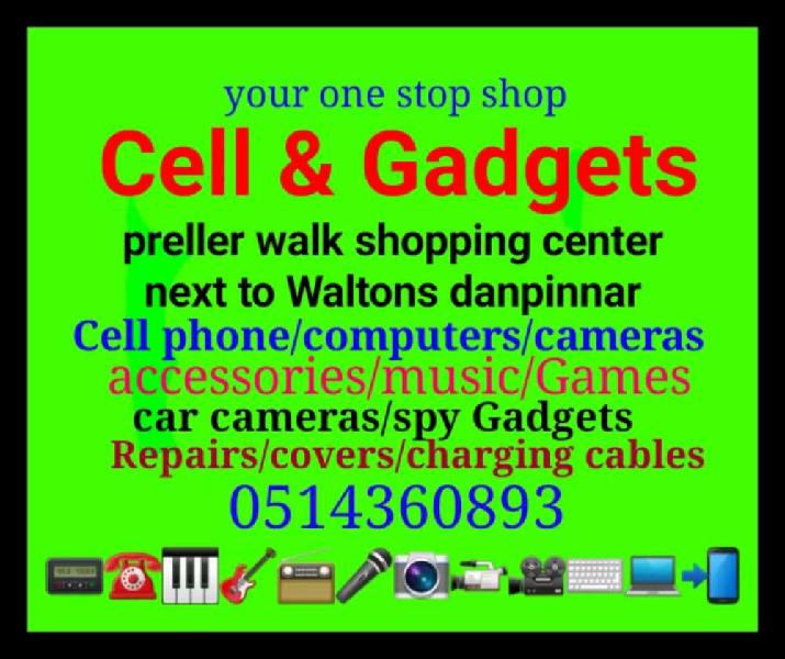 Cell and gadgets next to waltons