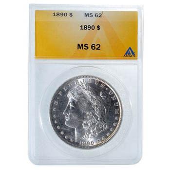 1890 USA Morgan silver dollar ANACS MS62