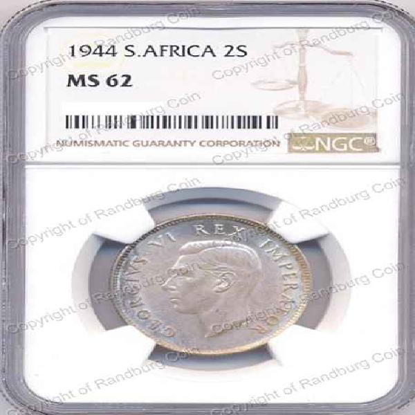 1944 TWO SHILLING NGC SLABBED MS 62 *#*