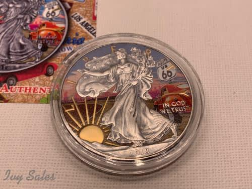 2018 1oz liberty silver eagle route 66 coin