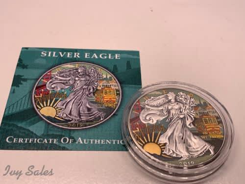 2019 1oz 1$ liberty silver eagle - san francisco antique