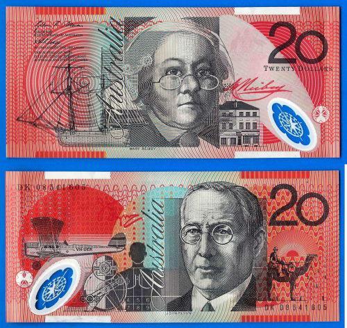 Australia 20 Dollars 2008 Plane Camel Boat Polymer Banknote