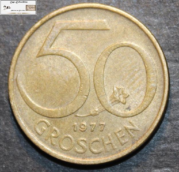 Austria 1977 50 Groschen Coin EF40.
