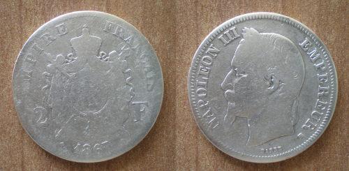 France 2 Francs 1867 Silver King Napoleon 3 Empereur Empire