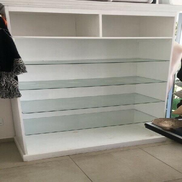 Glass shelf display cabinet ideal for salon, hairdresser,