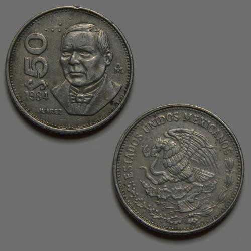 Mexico 50 pesos 1984 Pablo Juárez García Coin