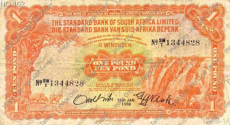 South West Africa - Standard Bank Windhoek - One Pound -