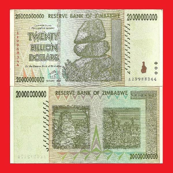 ZIMBABWE 20 Billion Dollar Banknote Serial AA9988344