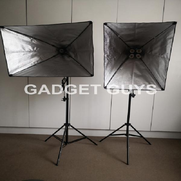Portable dual pop up soft box kit