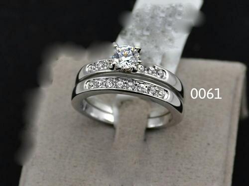 18k white gold plated wedding & engagement ring set,free