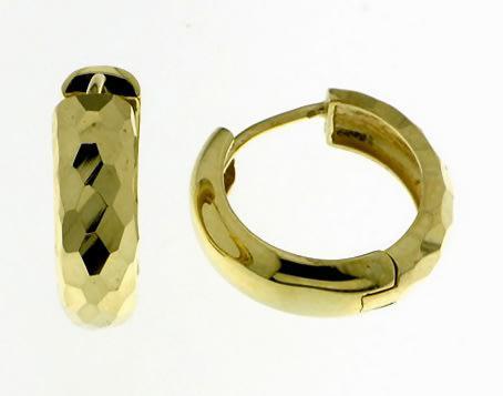 9k / 9ct gold huggie hoop reversible earrings: facetted,