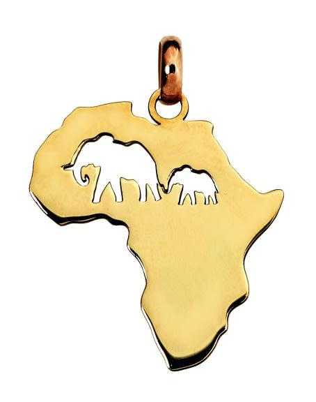 9k / 9ct gold map of africa pendant: mom & baby elephant