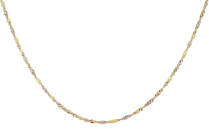 9k / 9ct gold two tone (yellow and white) singapore chain,