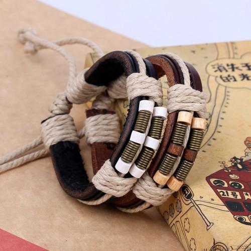 Black retro antique diy leather bracellet bangle with metal