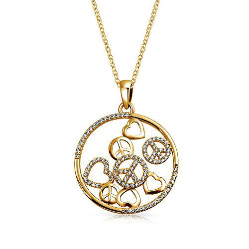 Bling Jewelry Gold Plated Hearts Peace 925 Silver Pendant