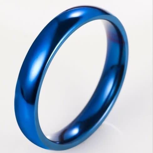 Blue stainless steel ring - size 6