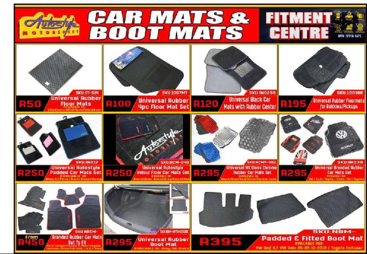 Car mats, carpets, rubber mats, floor inside vehicle