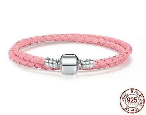 Double Strand Pink Genuine Leather & Sterling Silver