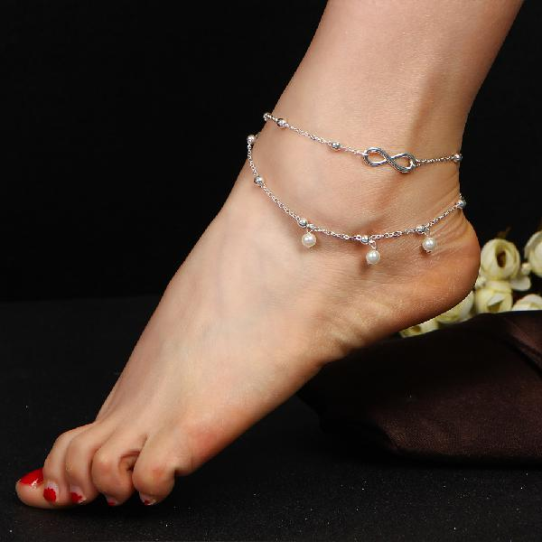 Fashion infinity knot multilayer women's anklet bead pearl